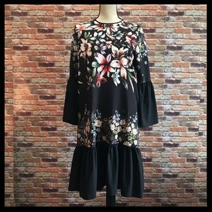 Clover Canyon Floral Print Bell Sleeve Dress